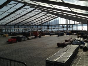 Load in setup for Amway China 2014 at Ellis Island, NY Harbor; dinner, Wang Leehom performance, and fireworks spectacular.