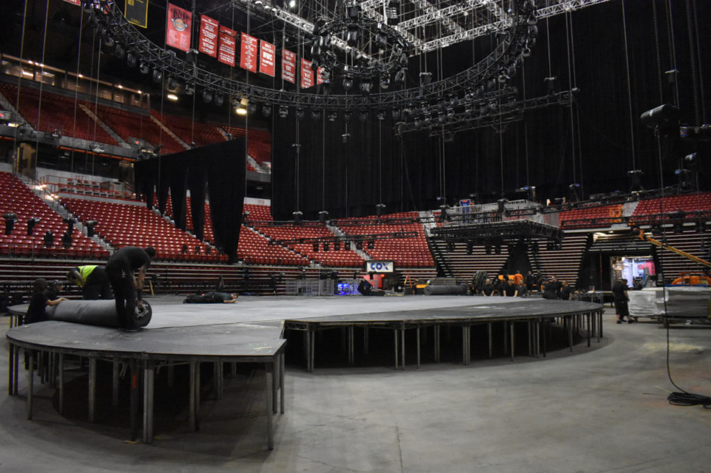 Load in for Nissan 2017 Business Meeting at UNLV Thomas and Mack Arena, Las Vegas, Nevada.