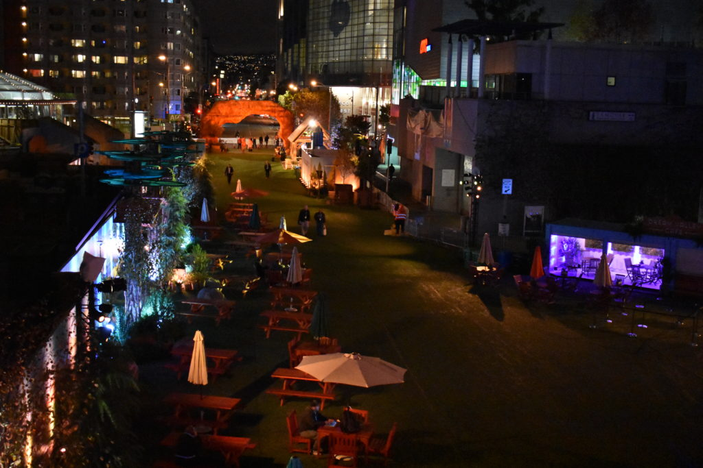 Dreamforce 2017 Dream Valley on Howard Street San Francisco at night.